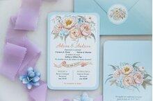 invitatie de nunta postcard cu albastru deschis si flori