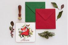 invitatie cu vulpe rosiatica pentru botez cu frunze verzi si plic verde  sau rosu