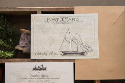 invitatie de nunta pentru tema travel cu vapor si plic kraft vintage