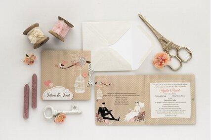 invitatie de nunta chic cu buline si crenguta cu pasari si colivie alba
