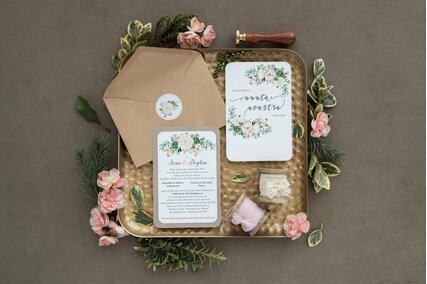 invitatie de nunta vintage florala crem cu plic kraft