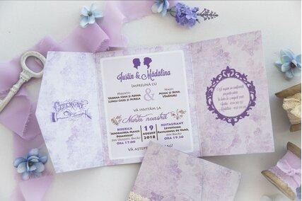 invitatie de nunta vintage eleganta cu lila si mov