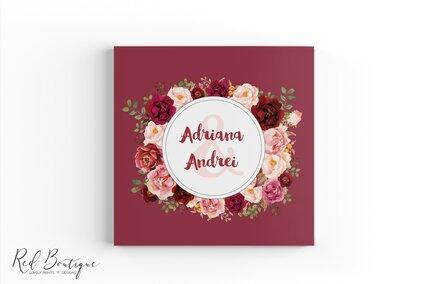 guestbook pentru nunta cu coperta personalizata rosie cu trandafiri