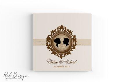 guestbook personalizat elegant crem cu rama maro
