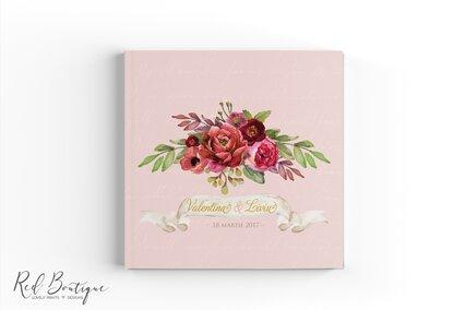 guestbook personalizat roz cu flori rosii si frunze verzi cu foi albe pentru urari invitati de nunta
