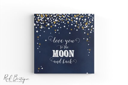 guestbook personalizat cu cer instelat si luna cu foi albe pentru ganduri