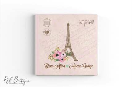 guestbook pentru nunti cu tema paris personalizat cu coperta tare si numele mirilor cu interior cu foi albe