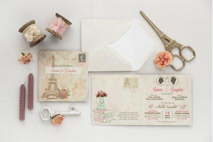 invitatie vintage cu paris si flori