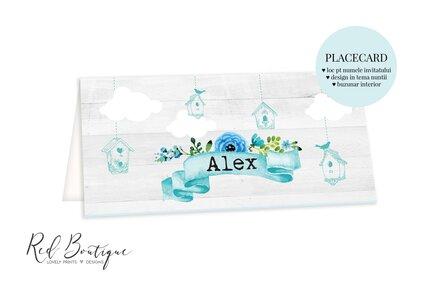 placecard botez baiat cu pasari albastre