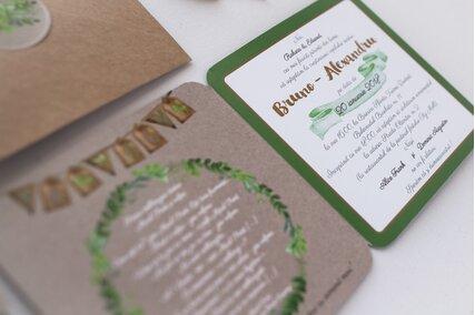 invitatie vintage cu verde si maro cu carton deosebit si plic kraft