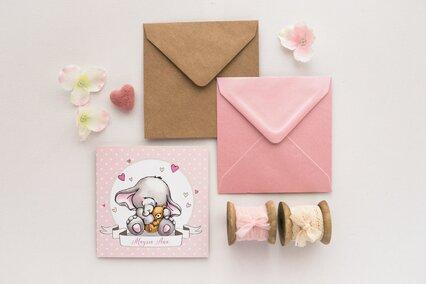 invitatie cu elefant si inimioare roz cu buline si ursulet