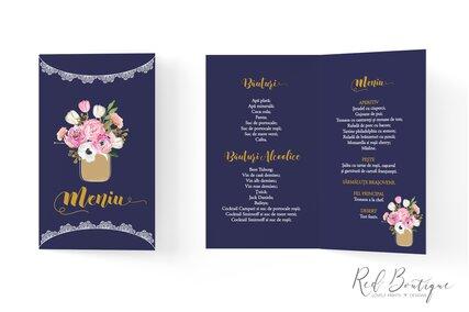 meniu albastru inchis cu flori roz vintage in borcan pentru nunti rustice