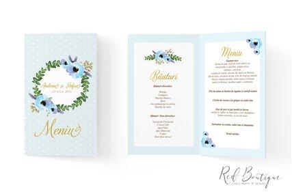 meniu pentru macanre si bauturi albastru cu flori albastre si coronita de frunze verzi