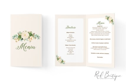 meniu pentru nunti si botezuri cu flori crem si frunze verzi