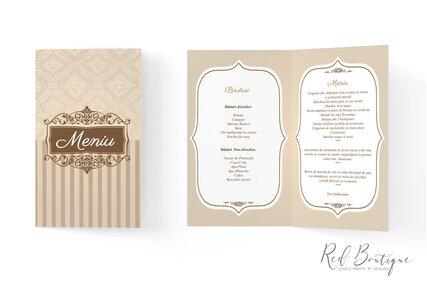 meniu pentru nunti si evenimente elegante cu culori crem si maro