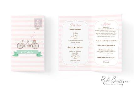 meniu chic cu bicicleta si dungi roz cu alb