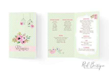 meniu verde deschis cu anemone si flori roz cu colivii de pasari