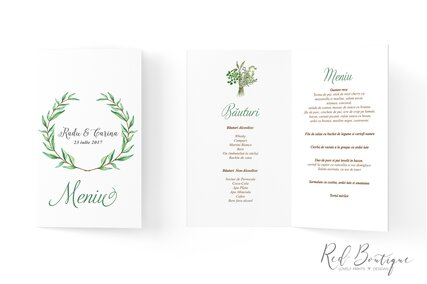 meniu de nunta cu frunze verzi