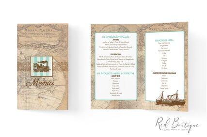 meniu pentru nunti cu tema travel cu harta lumii si tren vintage