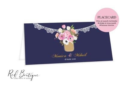 placecard modern albastru inchis cu bujori roz si dantela