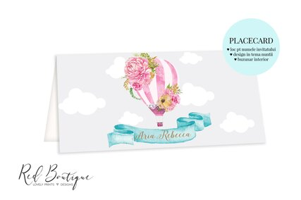 placecard cu balon roz si nori cu buzunar pentru bani
