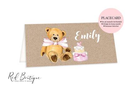 placecard vintage cu ursulet si tort roz cu loc pentru bani de botez