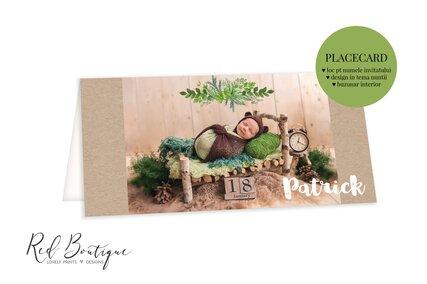 placecard cu poza bebelus si verdeata cu loc pentru bani si nume