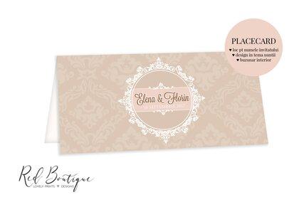 placecard roz cu crem elegant pentru nunti clasice