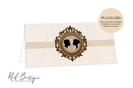 placecard elegant crem cu rama si camee