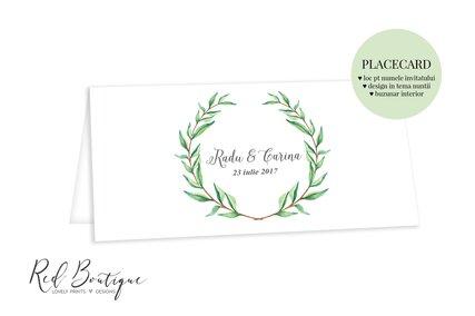 placecard vintage cu verdeata si carton texturat