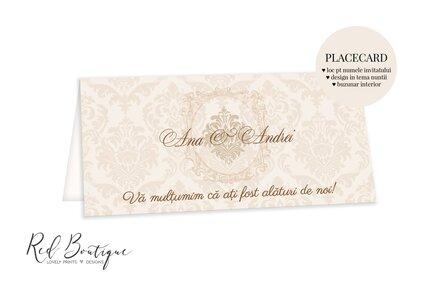 placecard elegant clasic crem cu buzunar pentru bani