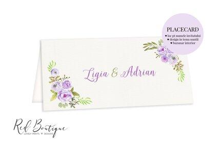 placecard cu textura vintage si flori mov cu frunze verde deschis