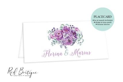 plic pentru nunta cu buzunar si flori mov
