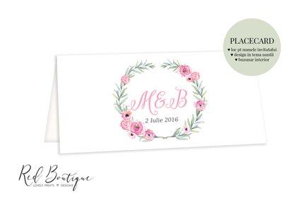 placecard vintage cu ramura de maslin si anemone roz cu loc pentru bani