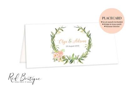 placecard pe carton texturat alb si frunze cu flori