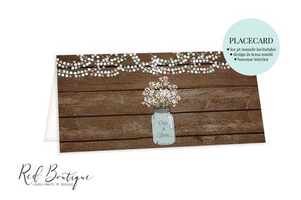 plic pentru bani pentru nunta rustica cu lemn si borcan cu floarea miresei cu loc pentru nume