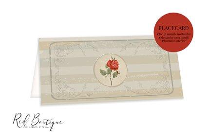 plic pentru nunta vintage cu dungi si trandafiri
