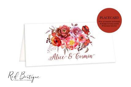 placecard pe carton alb si flori rosii elegante cu loc pentru bani si nume