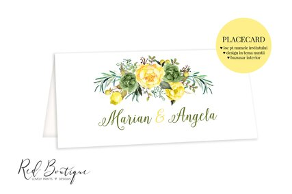 placecard cu flori galbene si frunze cu buzunar pentru bani[;