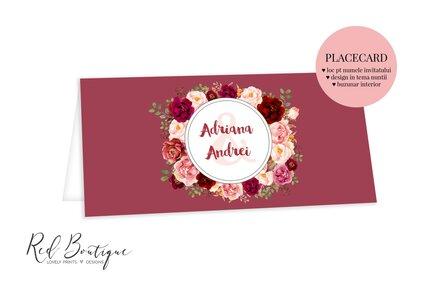 placecard elegant rosu de nunta cu trandafiri rosii si portocalii