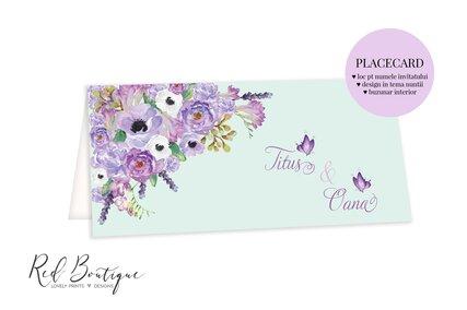 plic pentru bani verde deschis cu flori pictate mov si loc pentru nume invitati