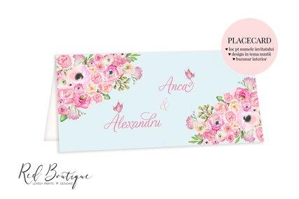 placecard albastru deschis cu flori pictate roz si buzunar pentru bani