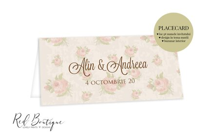 placecard nunta vintage cu trandafiri