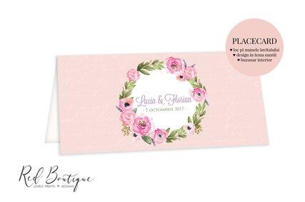 placecard roz cu flori si frunze in coronita decorativa si loc pentru bani