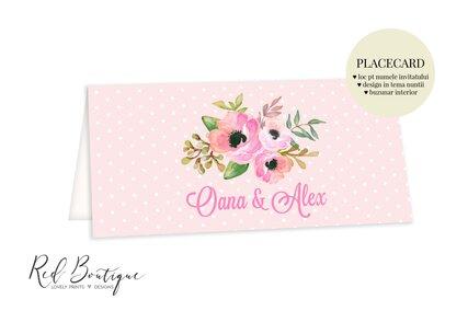 placecard cu buzunar pentru bani si anemone roz cu verdeata