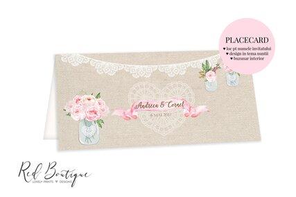 placecard vintage cu flori roz si dantela alba cu loc de nume si buzunar pentru bani