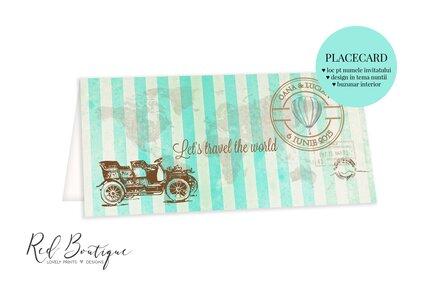 placecard vintage cu tema calatorii cu masina de epoca si dungi