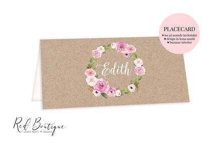 placecard cu carton vintage si flori roz cu buzunar pentru bani