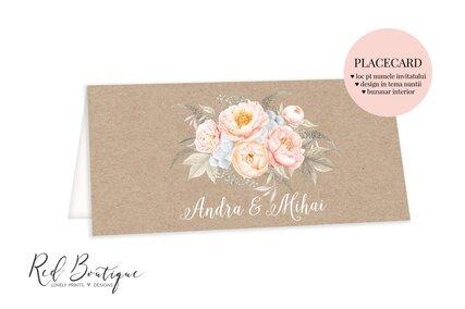 placecard cu carton vintage si flori pastel cu loc pentru bani