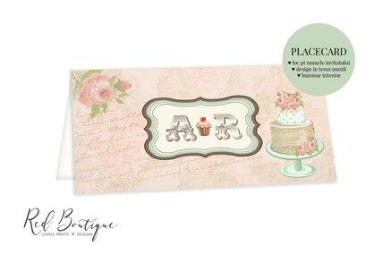 placecard vintage cu trandafiri si tort pentru bani de nunta